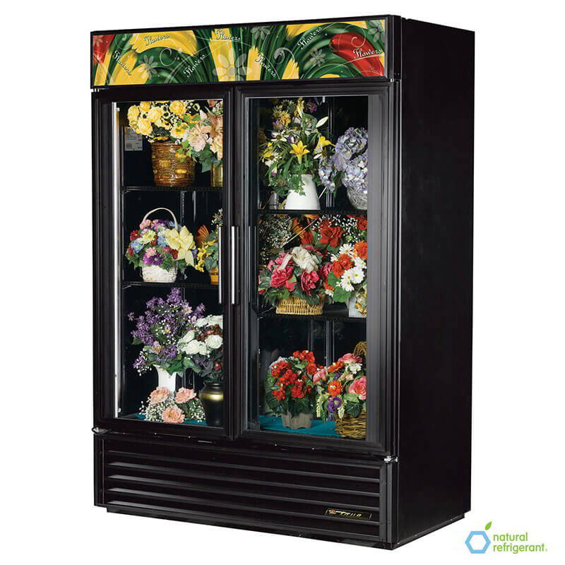 True GDM-49FC-LD BK 2-Section Floral Cooler w/ Swinging Door - Black, 115v