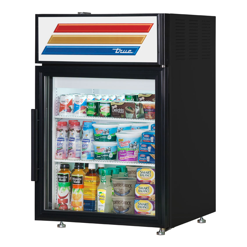 "True GDM-05-LD 24"" Countertop Refrigerator w/ Front Access - Swing Door, Black, 115v"