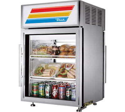 "True GDM-05PT-S-LD 24"" Countertop Refrigerator w/ Pass Thru Access - Swing Door, Stainless, 115v"
