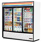 "True GDM-69-HC-LD 78"" Three-section Glass Door Merchandiser w/ Sliding Doors, White, 115V"