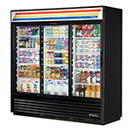 "True GDM-69-LD BK 79"" Three-Section Glass Door Merchandiser w/ Sliding Doors, Black, 115v"