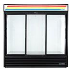 "True GDM-69-HC-LD 78"" Three-Section Glass Door Merchandiser w/ Sliding Doors, Black, 115v"
