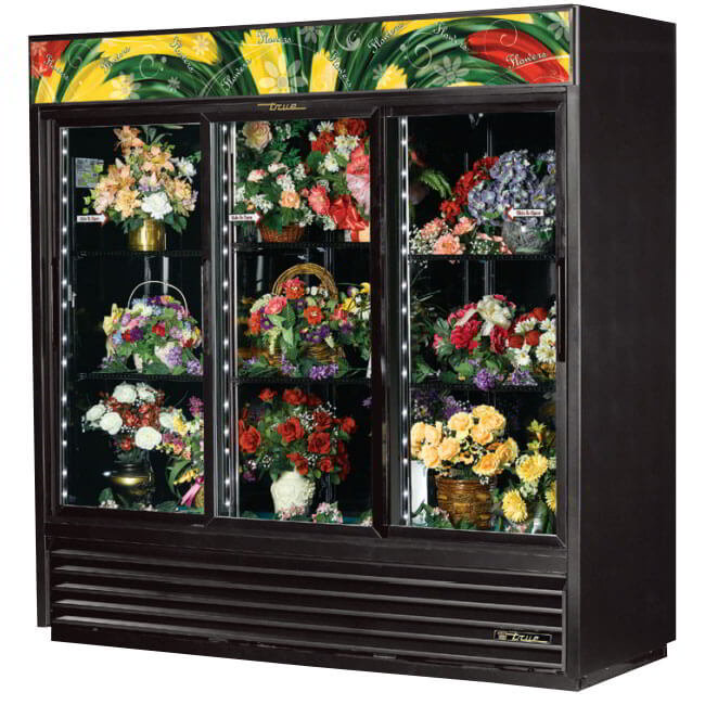 True GDM-69FC-LD 3-Section Floral Cooler w/ Sliding Door - Black, 115v
