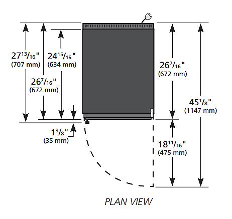 """True GDM-06-HC~TSL01 20"""" Countertop Refrigerator w/ Front Access - Swing Door, Black, 115v"""