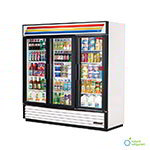 "True GDM-72-LD 79"" Three-Section Refrigerated Display w/ Swing Doors, Bottom Mount Compressor, White, 115v"