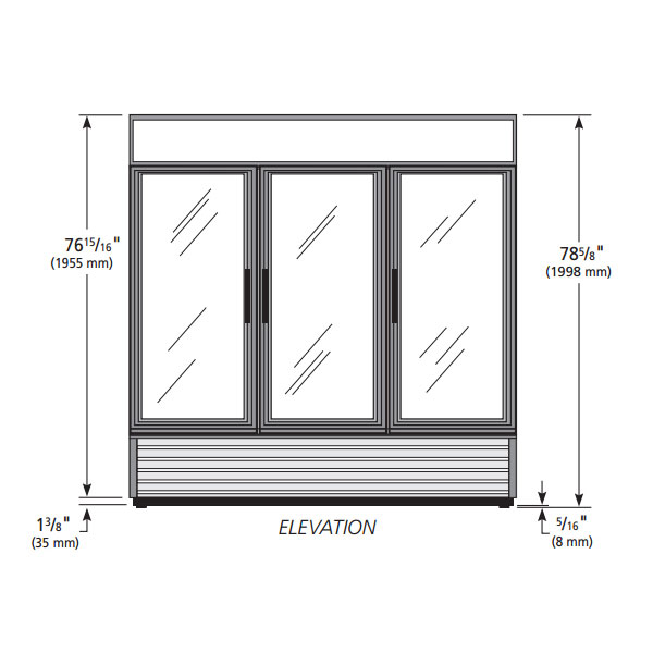 "True GDM-72-HC~TSL01  78"" Three-Section Glass Door Merchandiser w/ Swing Doors, Black, 115v"