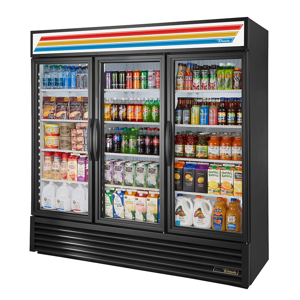 "True GDM-72-LD 79"" Three-Section Refrigerated Display w/ Swing Doors, Bottom Mount Compressor, Black, 115v"