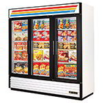"True GDM-72F-LD 78.13"" Three-Section Display Freezer w/ Swinging Doors - Bottom Mount Compressor, White, 115v"