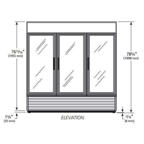 "True GDM-72F-HC~TSL01  78.13"" Three-Section Display Freezer w/ Swinging Doors - Bottom Mount Compressor, White"