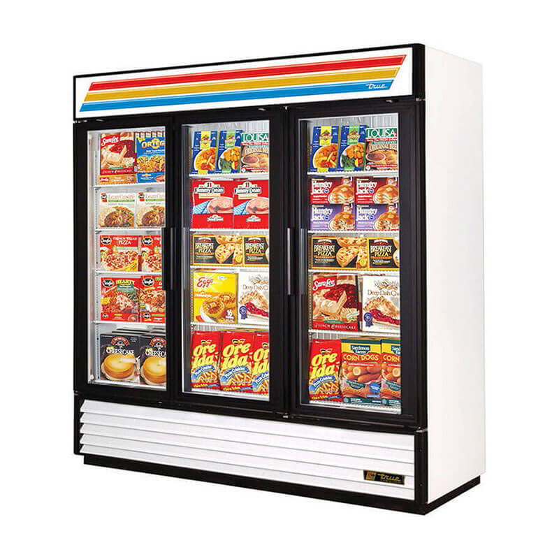 "True GDM-72F-LD WHT 78.13"" Three-Section Display Freezer w/ Swinging Doors - Bottom Mount Compressor, White, 115v"