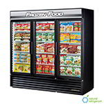 "True GDM-72F-LD BK 78.13"" Three-Section Display Freezer w/ Swinging Doors - Bottom Mount Compressor, Black, 115v"