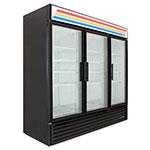 "True GDM-72F-HC~TSL01 78"" Three-Section Display Freezer w/ Swinging Doors - Bottom Mount Compressor, Black"