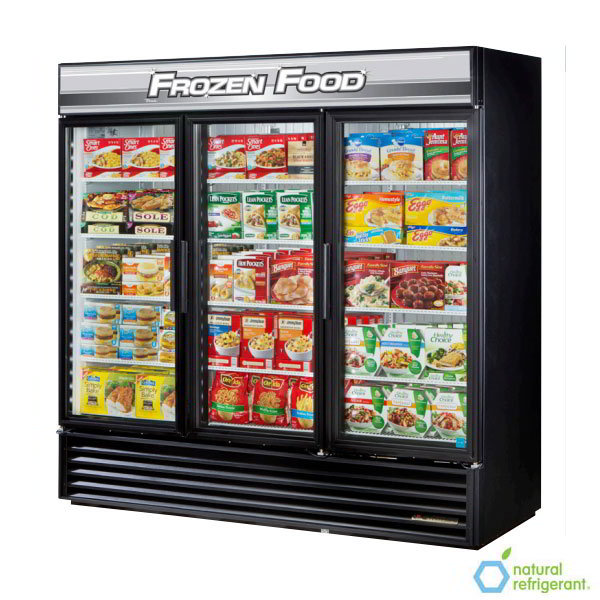 "True GDM-72F-LD 78.13"" Three-Section Display Freezer w/ Swinging Doors - Bottom Mount Compressor, Black, 115v"