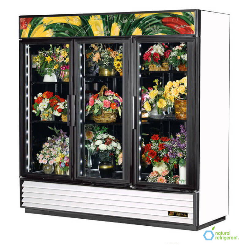 True GDM-72FC-LD WHT 3-Section Floral Cooler w/ Swinging Door - White, 115v
