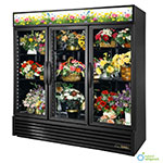 True GDM-72FC-LD BK 3-Section Floral Cooler w/ Swinging Door - Black, 115v