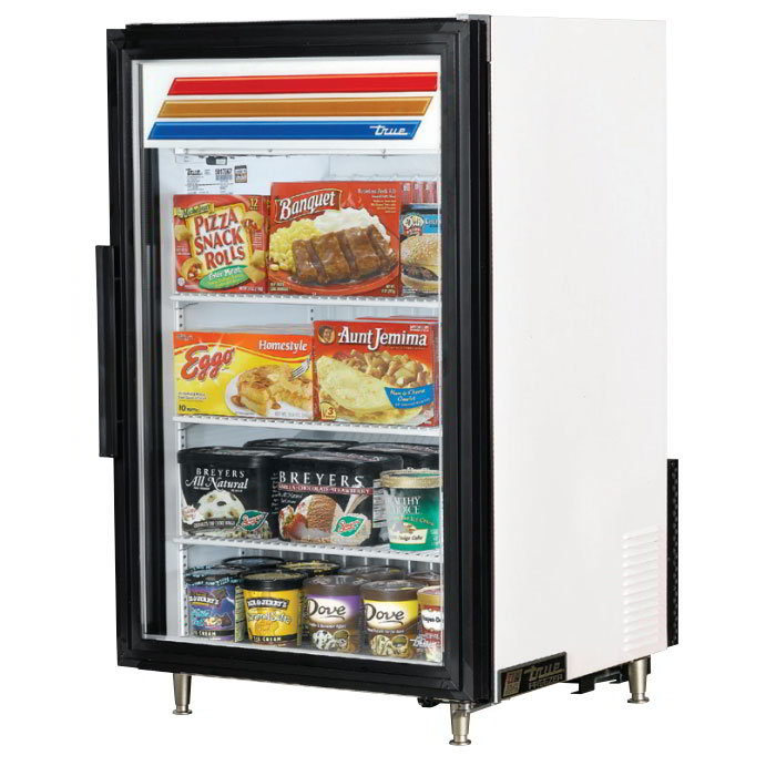 "True GDM-07F-LD 24"" One-Section Display Freezer w/ Swinging Door - Rear Mount Compressor, White, 115v"
