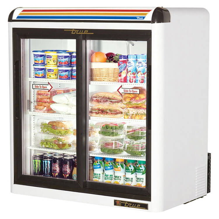"True GDM-9-LD WHT 36"" Countertop Refrigerator w/ Front Access - Sliding Door, White, 115v"