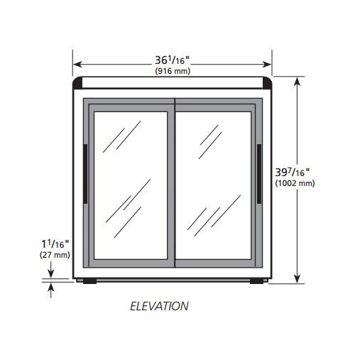 """True GDM-09-LD 36"""" Countertop Refrigerator w/ Front Access - Sliding Door, Black, 115v"""