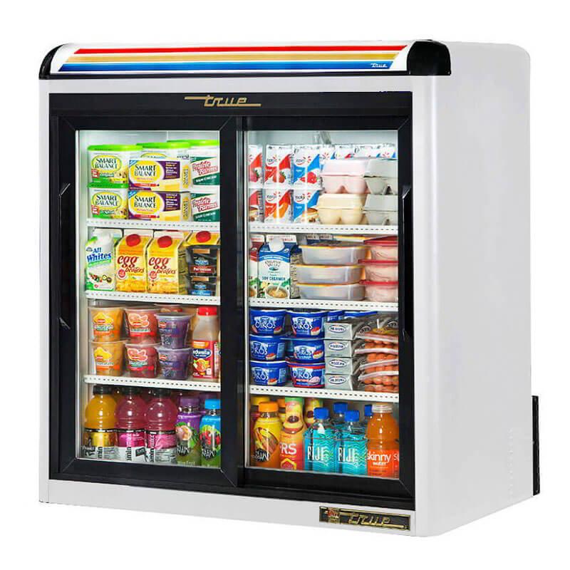"True GDM-9-LD 36"" Countertop Refrigeration w/ Front Access - Sliding Door, White, 115v"