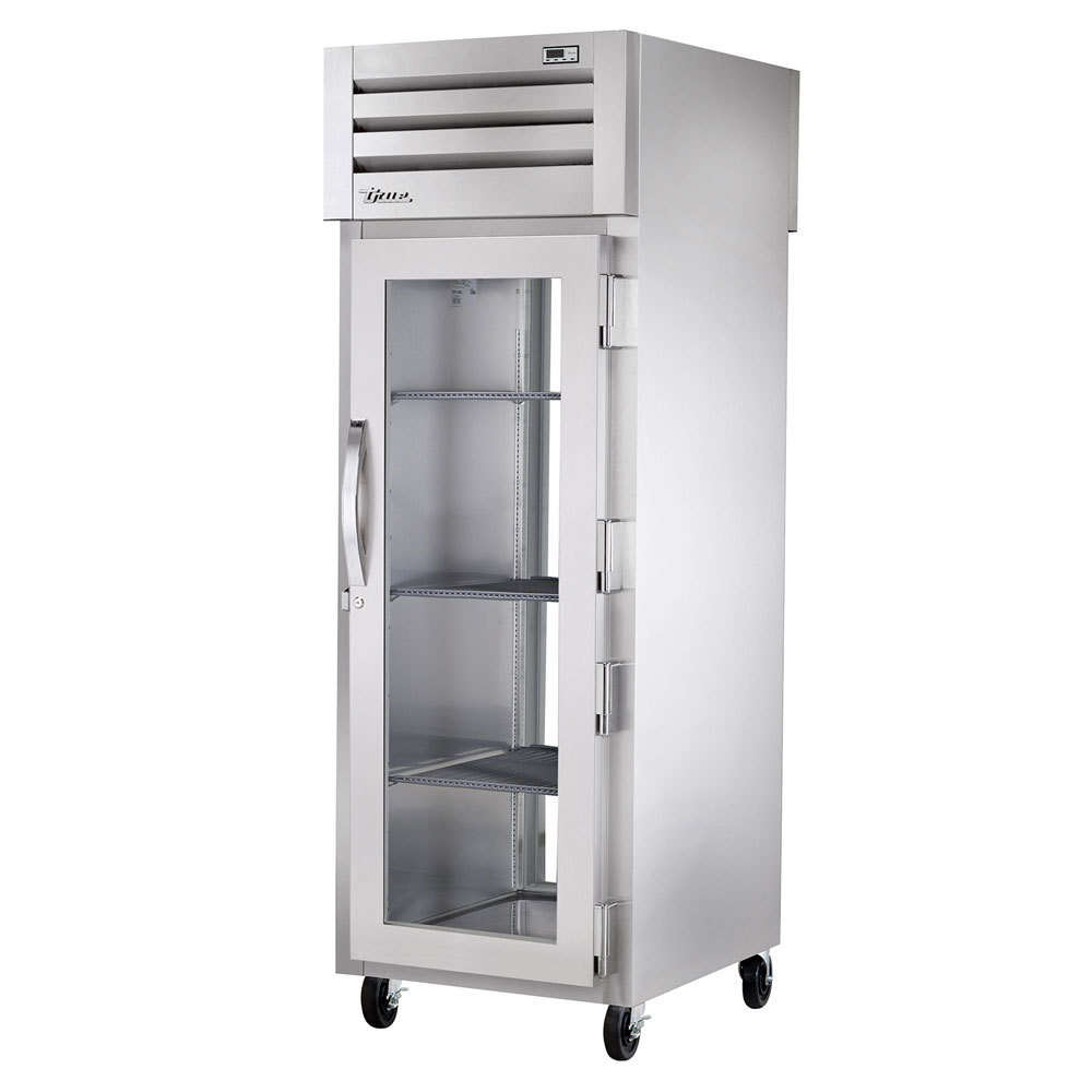 "True STA1RPT-1G-1G 27.5"" Single Section Pass-Thru Refrigerator, (1) Glass Door, 115v"