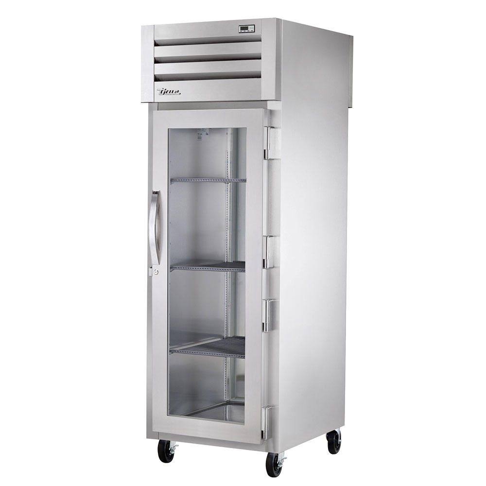 "True STA1RPT-1G-1S 27.5"" Single Section Pass-Thru Refrigerator, (1) Glass Door, 115v"