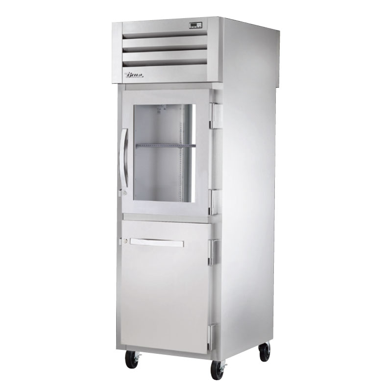 "True STA1RPT-1HG1HS1G 27.5"" Single Section Pass-Thru Refrigerator, (1) Solid Door, (1) Glass Door, 115v"
