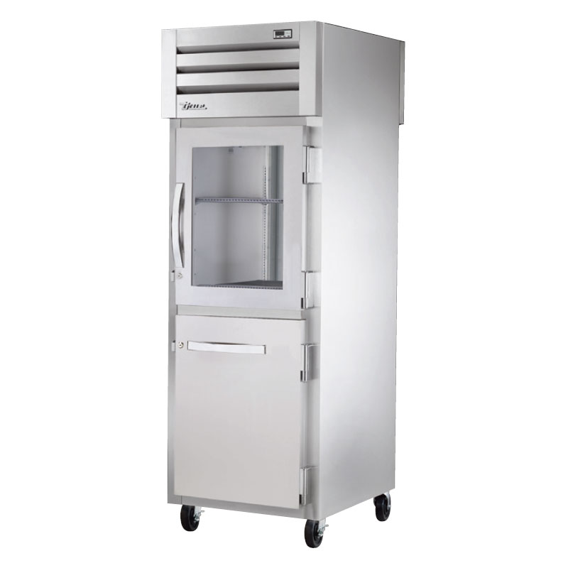 "True STA1RPT-1HG/1HS1S 27.5"" Single Section Pass-Thru Refrigerator, Half Solid & Half Glass Door, 115v"