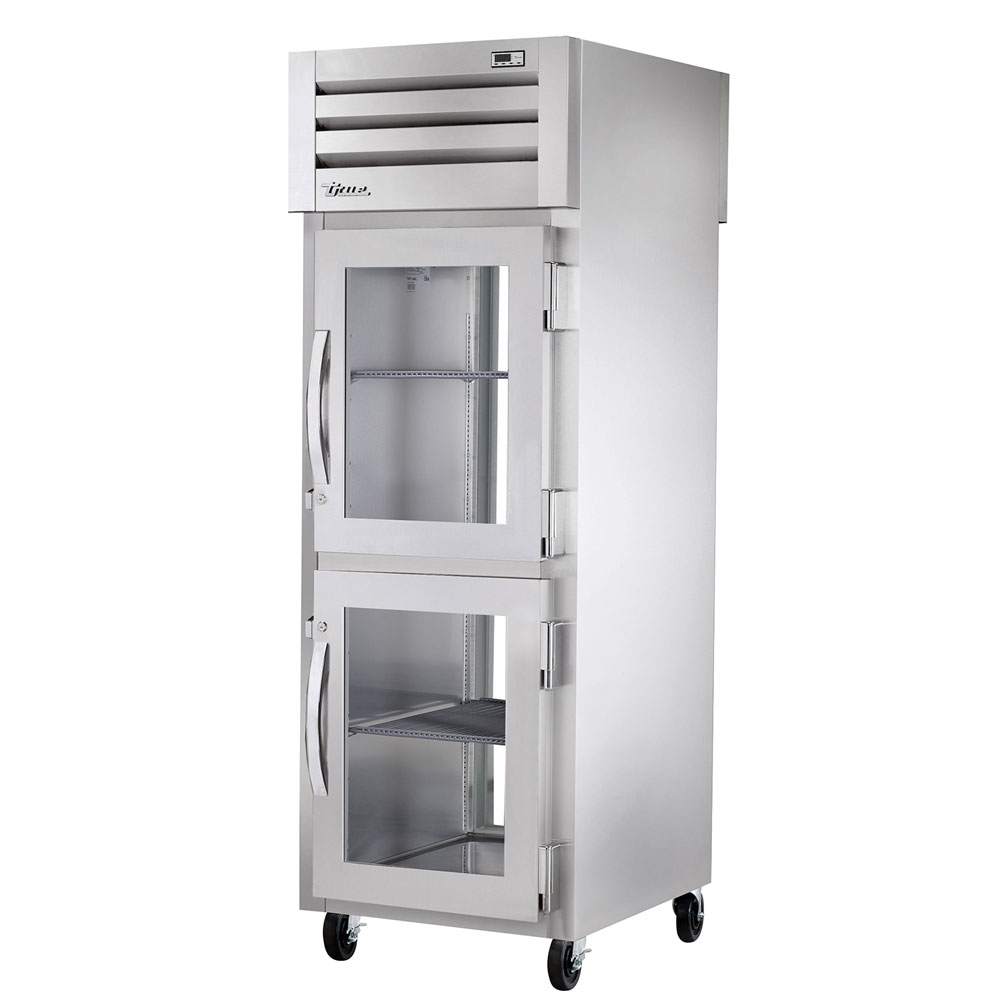 "True STA1RPT-2HG-1G 27.5"" Single Section Pass-Thru Refrigerator, (2) Glass Door, 115v"