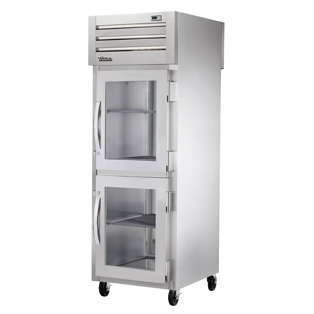 "True STA1RPT-2HG-1S 27.5"" Single Section Pass-Thru Refrigerator, (2) Glass Door, 115v"