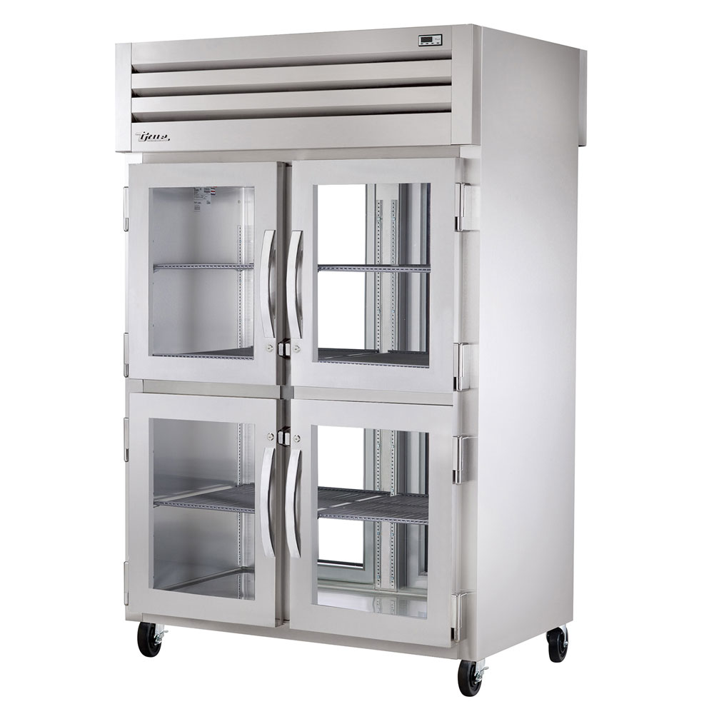 "True STA2RPT-4HG-2G 52.63"" Two Section Pass-Thru Refrigerator, (4) Glass Door, 115v"
