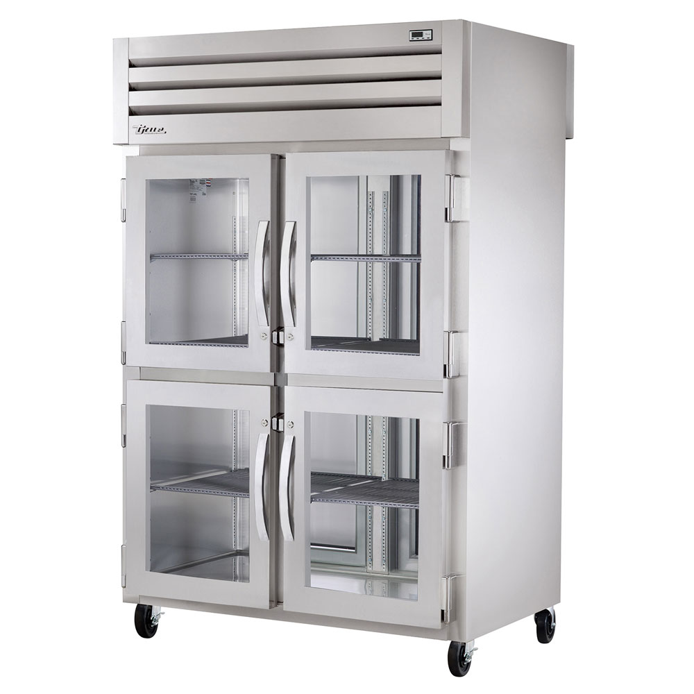 "True STA2RPT-4HG-2S-HC 52.63"" Two Section Pass-Thru Refrigerator, (4) Glass Door, 115v"