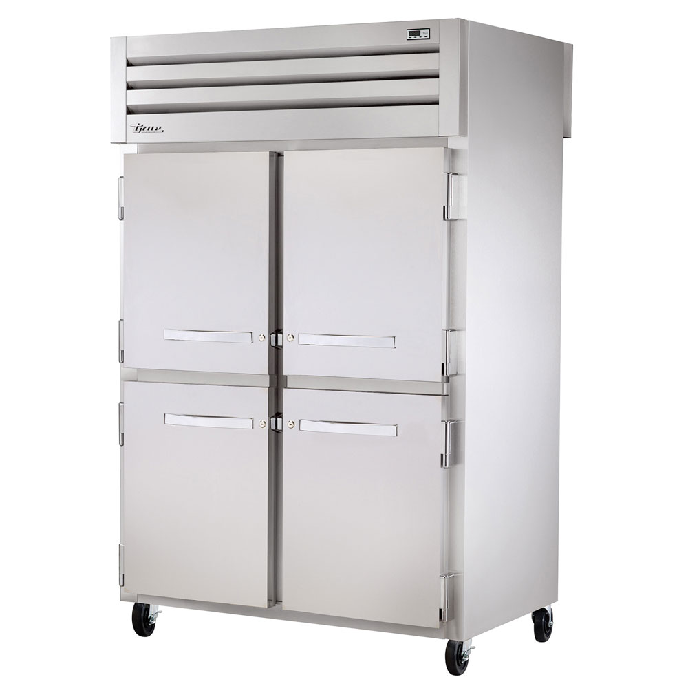 "True STA2RPT-4HS-2G-HC 52.63"" Two Section Pass-Thru Refrigerator, (4) Solid Door, 115v"