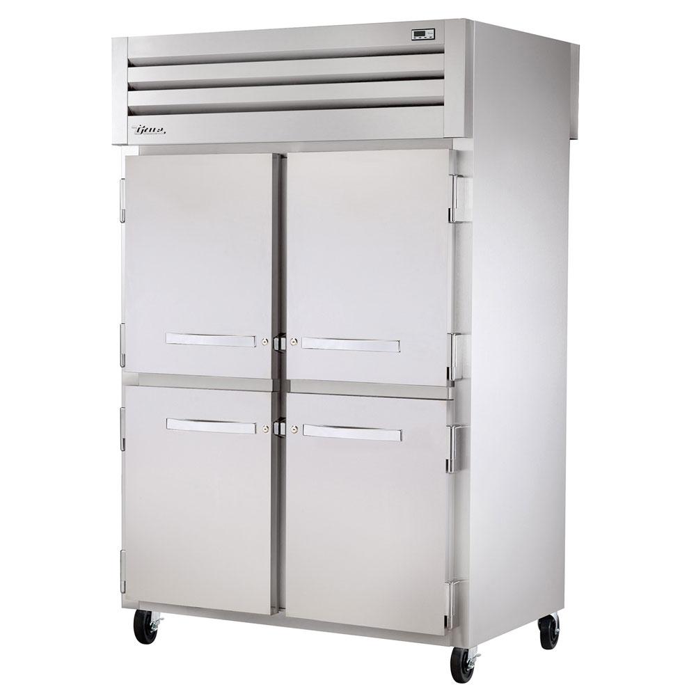 "True STA2RPT-4HS-2S-HC 52.63"" Two Section Pass-Thru Refrigerator, (4) Solid Door, 115v"