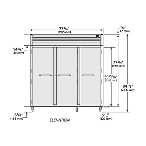 """True STA3F-3S 77.75"""" Three Section Reach-In Freezer, (3) Solid Doors, 208v/1ph"""