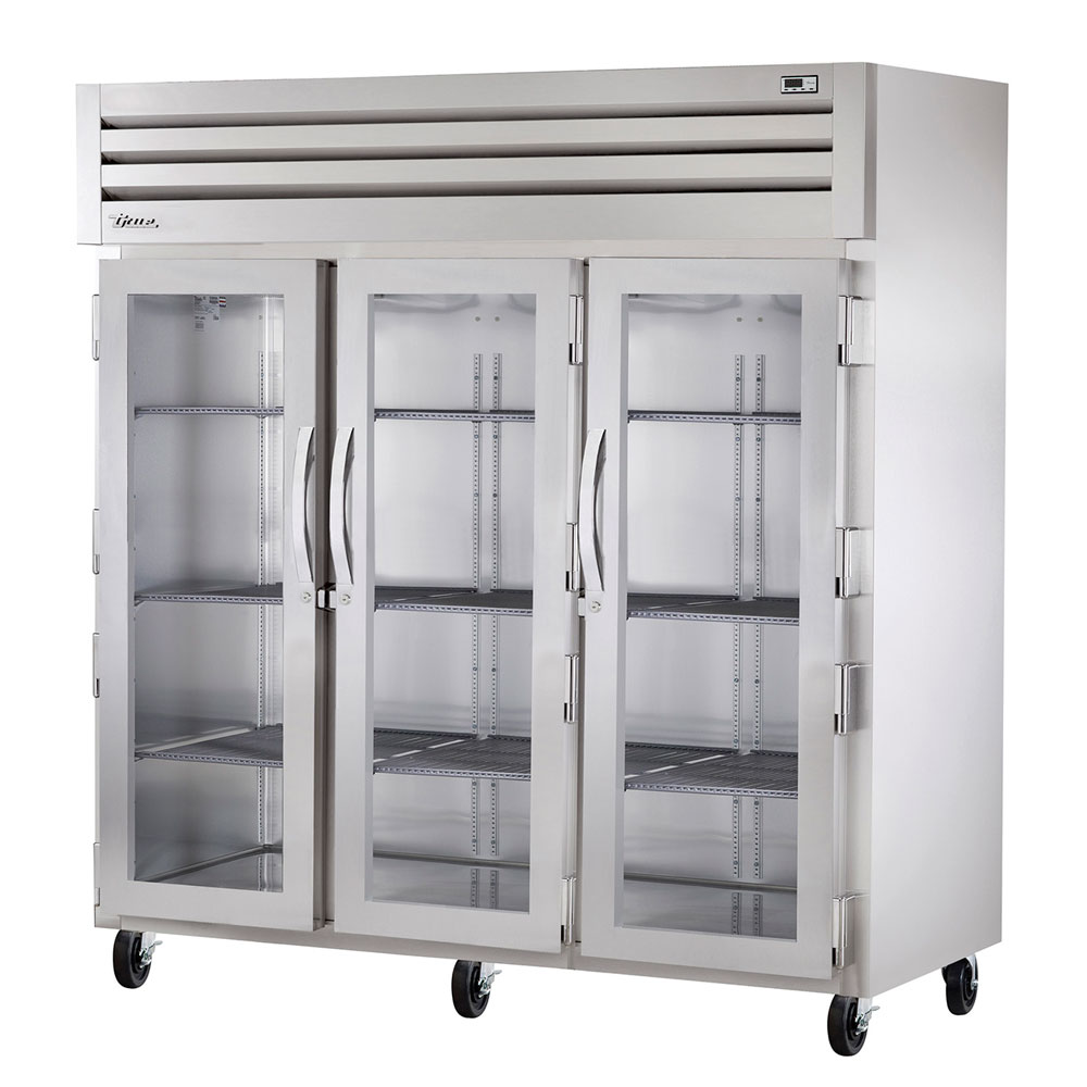 "True STA3R-3G 77.75"" Three Section Reach-In Refrigerator, (3) Glass Door, 115v"