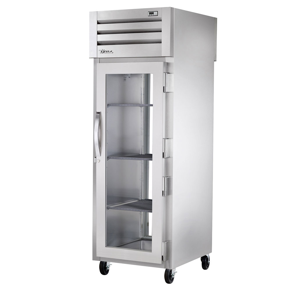 "True STG1RPT-1G-1G-HC 27.5"" Single Section Pass-Thru Refrigerator, (1) Glass Door, 115v"