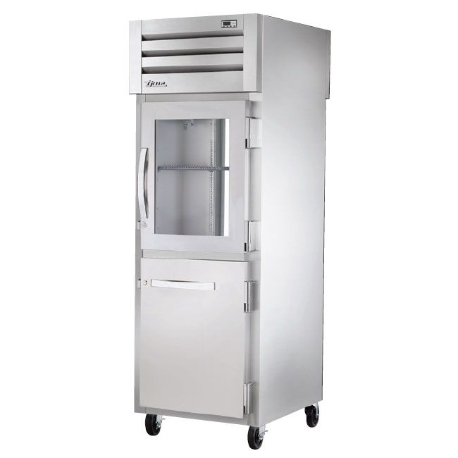 "True STG1RPT-1HG/1HS-1G-HC 27.5"" Single Section Pass-Thru Refrigerator, (1) Solid Door, (1) Glass Door, 115v"