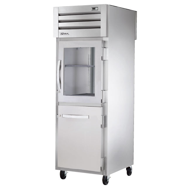 "True STG1RPT-1HG/1HS-1S-HC 27.5"" Single Section Pass-Thru Refrigerator, (1) Solid Door, (1) Glass Door, 115v"