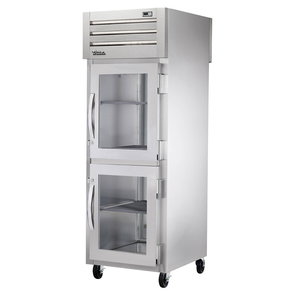 "True STG1RPT-2HG-1S 27.5"" Single Section Pass-Thru Refrigerator, (2) Glass Door, 115v"