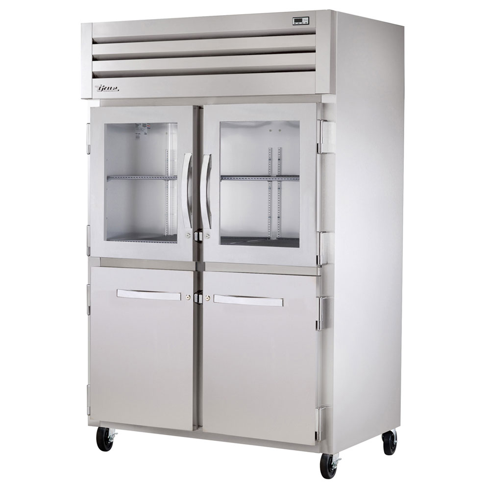 "True STG2R-2HG/2HS 52.63"" Two Section Reach-In Refrigerator, (2) Solid Door, (2) Glass Door, 115v"