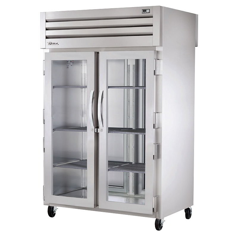 "True STG2RPT-2G-2S-HC 53"" Two Section Pass-Thru Refrigerator, (2) Glass Door, 115v"