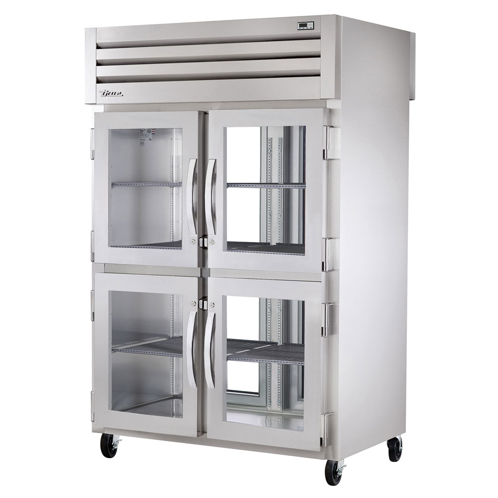 "True STG2RPT-4HG-2G 52.63"" Two Section Pass-Thru Refrigerator, (4) Glass Door, 115v"