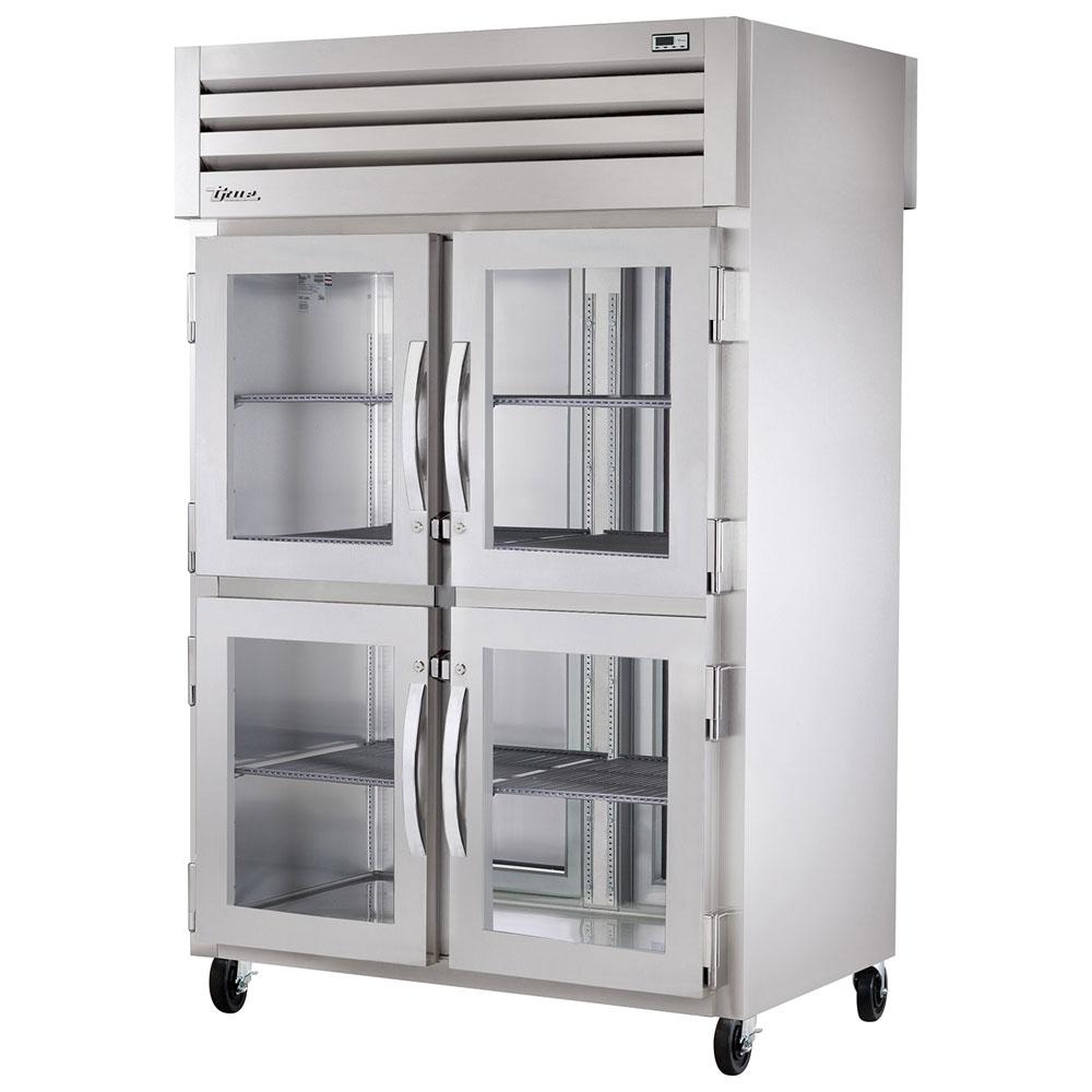 "True STG2RPT-4HG-2S-HC 52.63"" Two Section Pass-Thru Refrigerator, (4) Glass Door, 115v"