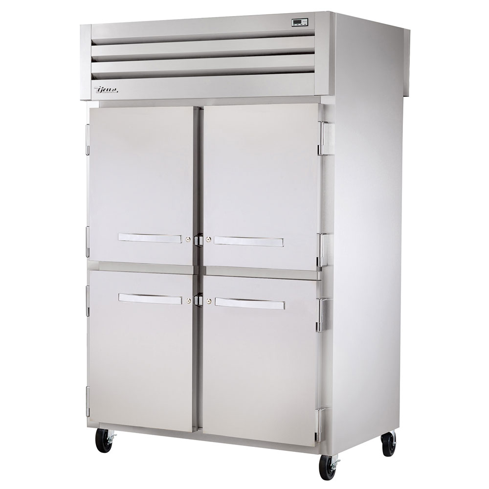 "True STG2RPT-4HS-2G-HC 52.63"" Two Section Pass-Thru Refrigerator, (4) Solid Door, 115v"