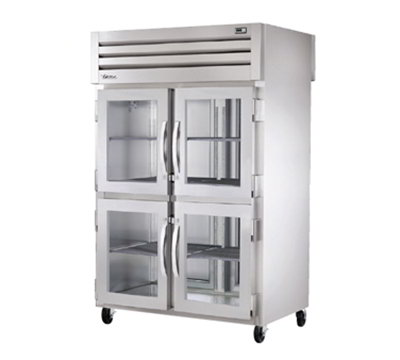 "True STG2RPTVLD-4HG2S 52.63"" Two Section Pass-Thru Refrigerator, (4) Glass Door, 115v"