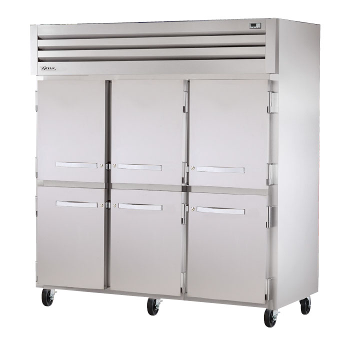 "True STG3F-6HS 77.75"" Three Section Reach-In Freezer, (6) Solid Door, 208-230v/1ph"