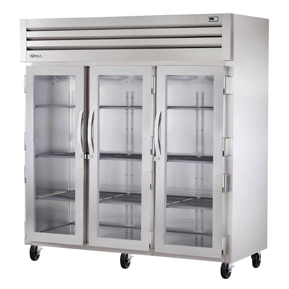 """True STG3R-3G 77.75"""" Three Section Reach-In Refrigerator, (3) Glass Door, 115v"""
