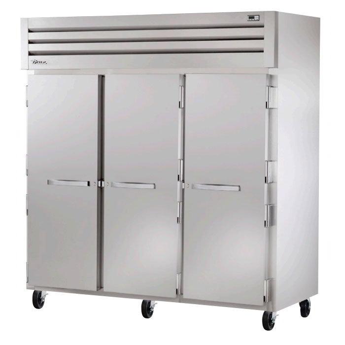 """True STG3R-3S 77.75"""" Three Section Reach-In Refrigerator, (3) Solid Door, 115v"""