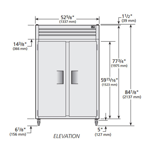 """True STM2R-2S-HC 52.63"""" Two Section Reach-In Refrigerator, (2) Solid Door, 115v"""