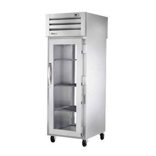 "True STR1RPT-1G-1G 28"" Single Section Pass-Thru Refrigerator, (1) Glass Door Front & Back, 115v"